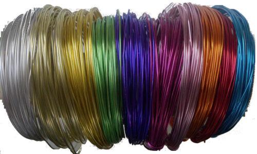 0,33€//m 60m Schmuckdraht Set 1mm 10 Farben je 6m Basteldraht Aludraht Draht