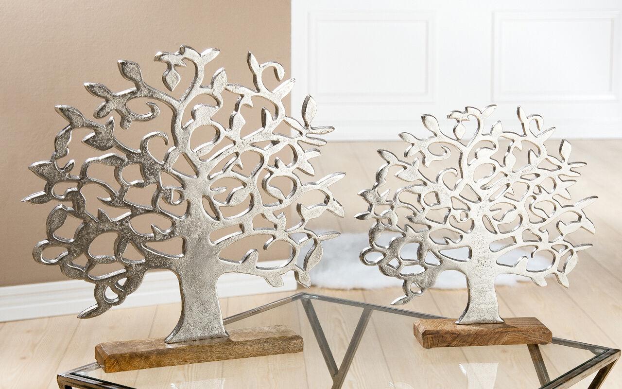 alu lebensbaum auf holzbasis silber mango 38 cm g48182 dekoobjekt standobjekt ebay. Black Bedroom Furniture Sets. Home Design Ideas