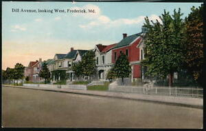 FREDERICK MD Dill Avenue Vintage Town View House Postcard Early Old Maryland PC