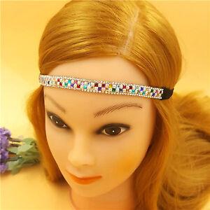 Rainbow Headband Multi Colour Crystal Elastic Party Hairband Birthday Hair Gift