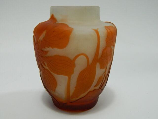 Emile Gallé Jugendstil Vase florales Dekor signiert  Frankreich um 1900