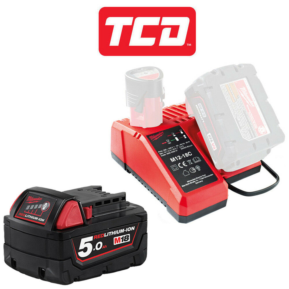 Milwaukee M18B5X1C 1 X 5.0Ah Battery with M12-18C Charger