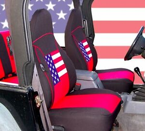 Marvelous Details About 1997 2002 Jeep Wrangler Tj Neoprene Seat Covers Front Rear Red Us Flag Tj127Us Dailytribune Chair Design For Home Dailytribuneorg