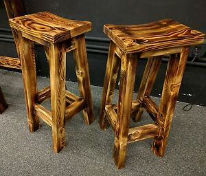 Image Is Loading Rustic Fire Scorched Reclaimed Wood Bar Stools Saddle