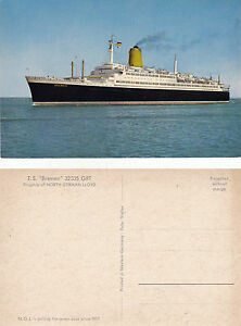 GERMAN CRUISE SHIP TS BREMEN NORTH GERMAN LLOYD LINE UNUSED COLOUR POSTCARD - Weston Super Mare, Somerset, United Kingdom - GERMAN CRUISE SHIP TS BREMEN NORTH GERMAN LLOYD LINE UNUSED COLOUR POSTCARD - Weston Super Mare, Somerset, United Kingdom