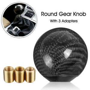 Universal-Car-Truck-Black-Carbon-Fiber-Style-Gear-Shift-Knob-Round-Ball-Shape