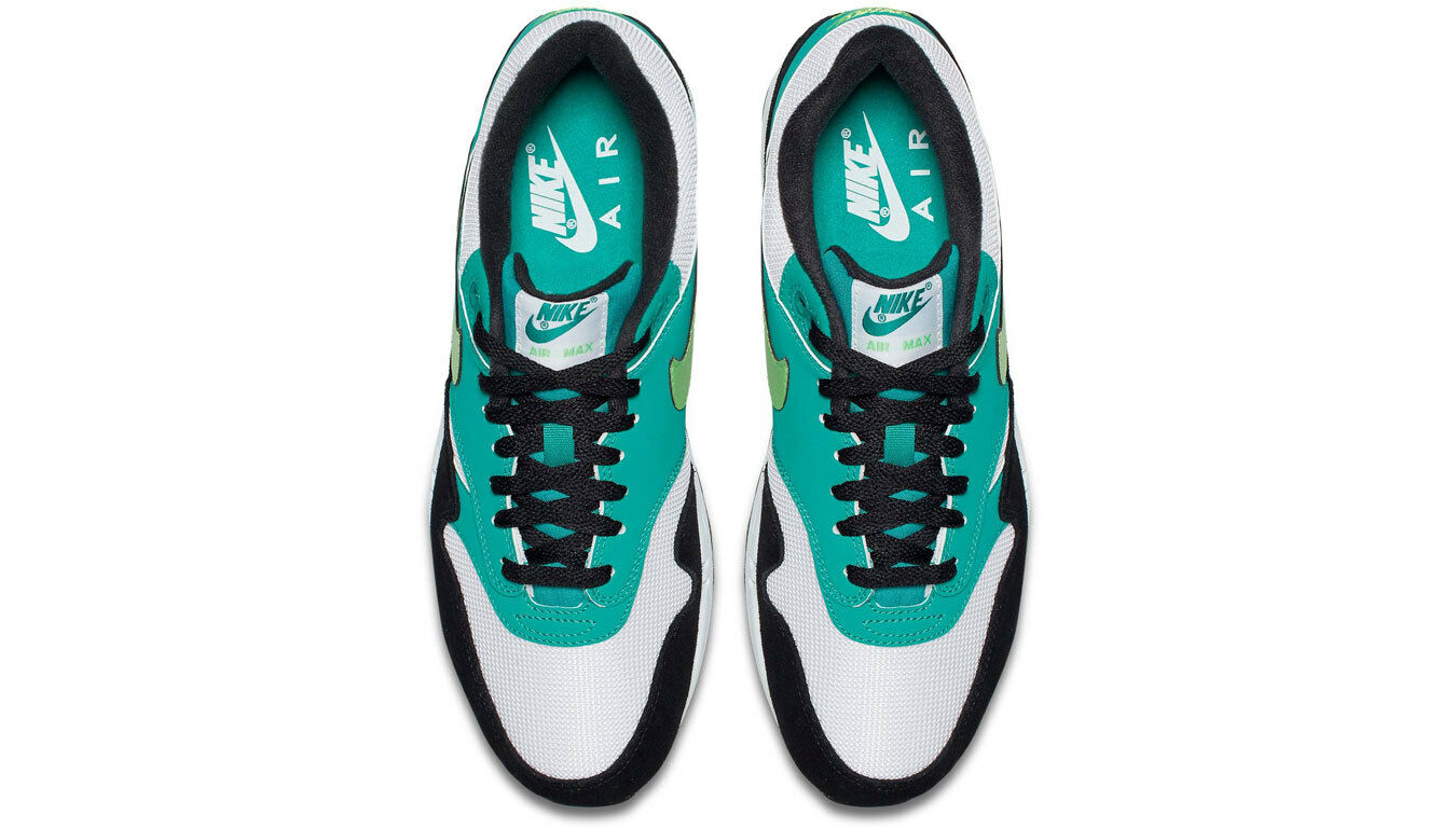 Brand New Men's Nike Air Max 1 White Green Strike Black Size 10.5 Very Nice