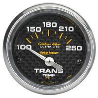 Auto Meter Carbon Fiber Electric Trans Temp Gauge 100-250 Deg F (2 1/16) 52mm