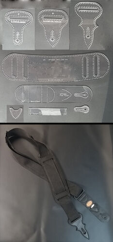 "GUITAR STRAP TEMPLATE SET FOR MAKING 2/"" NYLON GUITAR STRAPS EAST TO MAKE"