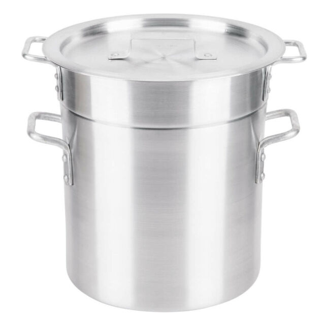 8 Qt Aluminum NSF Listed Restaurant Silver Cooking Double Boiler With Lid Cover