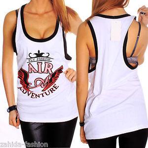 ZAHIDA Damen Ärmellos Rip kurz Shirt T-Shirt Tank Top women Style Sommer NEU WOW