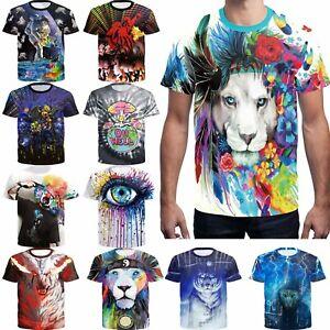 Men-3D-Printed-Art-lion-Painting-funny-T-shirt-Soft-cotton-Short-Sleeve-Tee-Top