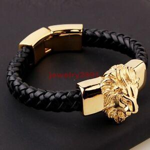Men-039-s-Black-Genuine-Leather-Bracelet-Gold-Plate-Stainless-Steel-Animal-Lion-Head