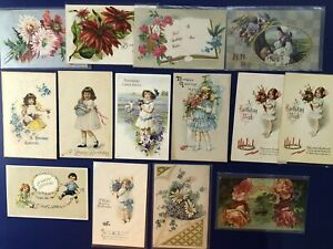 15-Unposted-Birthday-Antique-Postcards-1900s-For-Collectors-Nice-w-Value