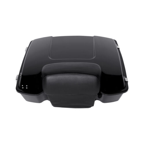 Black Tour Pak Pack Trunk W// Chopped Backrest Pad For Harley Touring Glide 97-13