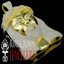 Yellow Gold Sterling Silver Lab Diamond Iced Out Elegant Mens Jesus Head Pendant