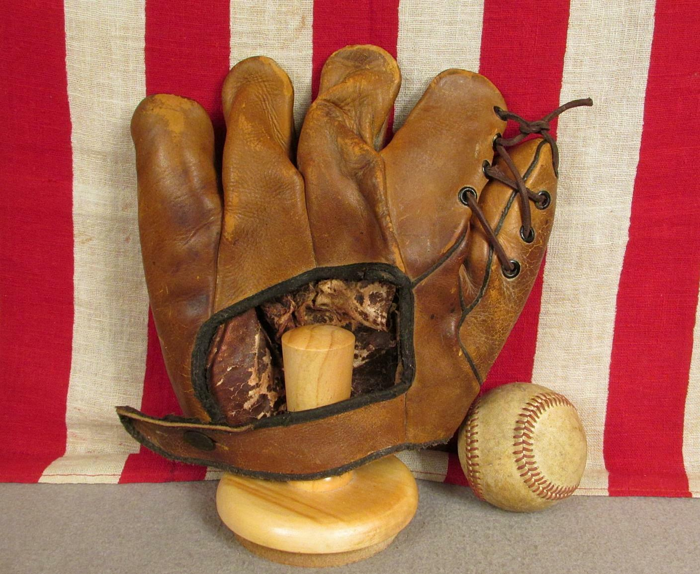 Vintage 1930s orfebre Cuero Guante de béisbol G10 Mitt Odell Hale Modelo agradable