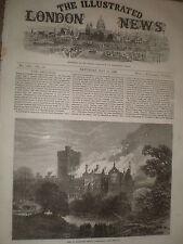 Incendio en Greystoke Castillo de Cumberland 1868 antiguos impresión ref Z1
