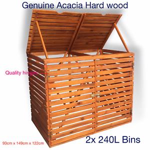 Details About Hard Wood Double Wheelie Bin Storage For Garden Dustbin Shed 2x 240l Bins