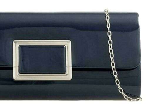 Navy Blue Clutch Bag Ladies Glossy Shoulder Bag Faux Patent Prom Evening Bag New