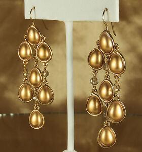 Designer Carolee Chandelier Flapper Earrings Matte Gold