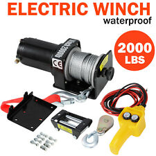 2000LBS Electric Recovery Winch 12V Heavy Duty Remote Control Rope Trailer Truck