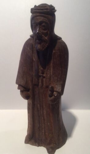 "Antique 19th Century Large 8.5"" Religious Carved Wood Statue Figurine"