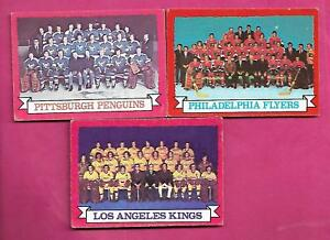 1973-74-OPC-FLYERS-KINGS-PENGUINS-TEAM-PHOTO-EX-CARD-INV-A9640