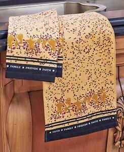 2pc Primitive Hearts Stars Kitchen Towels Set Country Berries Folk Art Decor Ebay