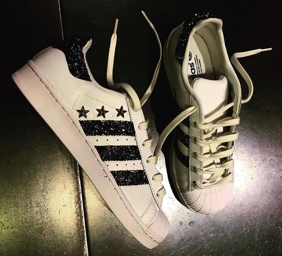 shoes adidas superstar con glitter black e stelle silver