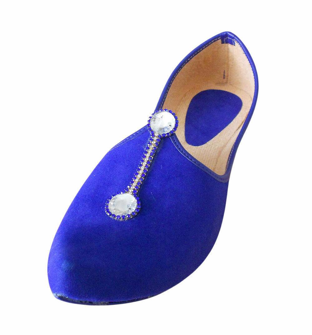 Men shoes Traditional Handmade Punjabi Wedding Jutties bluee Khussa Flat US 9
