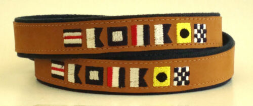 Zep-Pro Embroidered Leather Canvas Belt /> NAUTICAL CODE FLAGS CAPTAIN  pick size