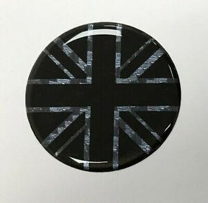 BLACK-amp-CARBON-FIBRE-EFFECT-UNION-JACK-FLAG-40mm-Sticker-GLOSS-DOMED-GEL-UK