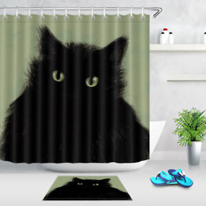 "Black Cat Shower Curtain Set 71"" Bathroom Waterproof Curtains Fabrtic Liner New"