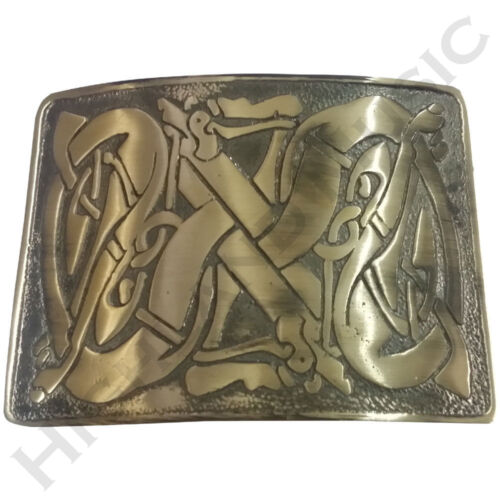 HM Celtic Kilt Belt Buckle Brass Antique Finish//Kilt Belt Buckle Celtic Pattren