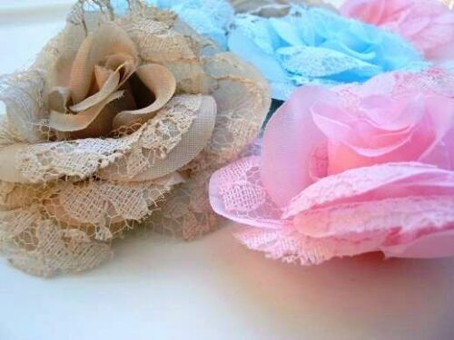 "9 Hand Made Lace /& Silk Big 3/"" Rose Brooch Flower//vintage//Trim//Craft//decor H209"
