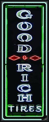 GOODRICH TIRES GAS//SERVICE STATION NEON STYLE BANNER GARAGE ART VERTICAL 2/' X 5/'