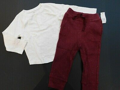 NWT Gap Toddler Girl/'s 2 Pc Outfit T-Shirt//Pull-On Faded Denim Shorts 2Yr New