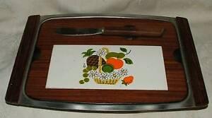 1950s-Japan-Teak-amp-Chrome-Cheese-Tray-w-Stylized-Fruit-Tile-Magnetic-Knife-3-pc