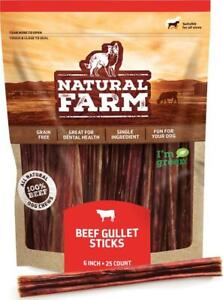 Natural Farm Made and Packaged Gullet Sticks: 6-Inch Long (25-Pack), One Beef -