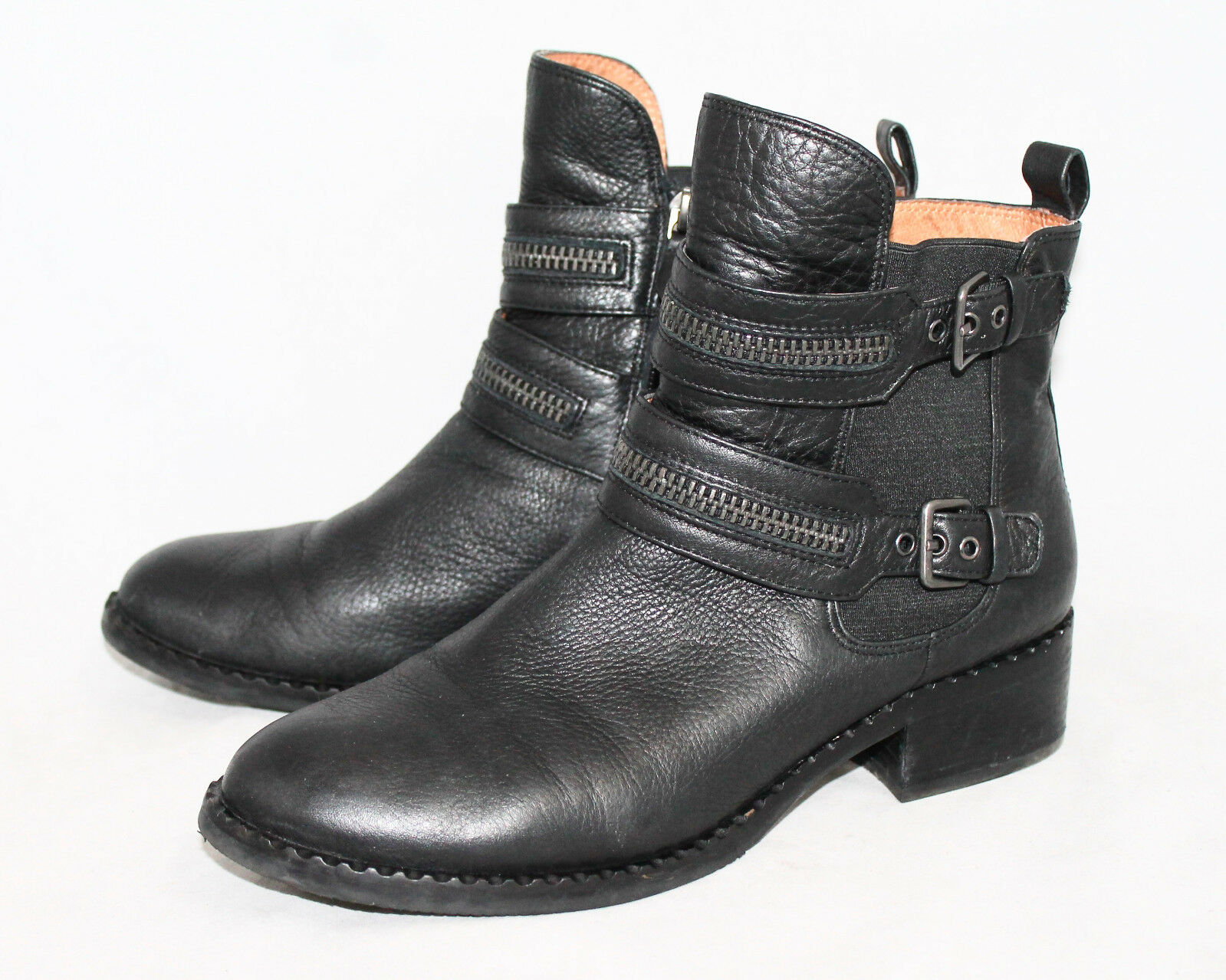 GENTLE SOULS Barberton Boot Wo's 8.5M Black Leather Side Zipper Chelsea Hi Ankle
