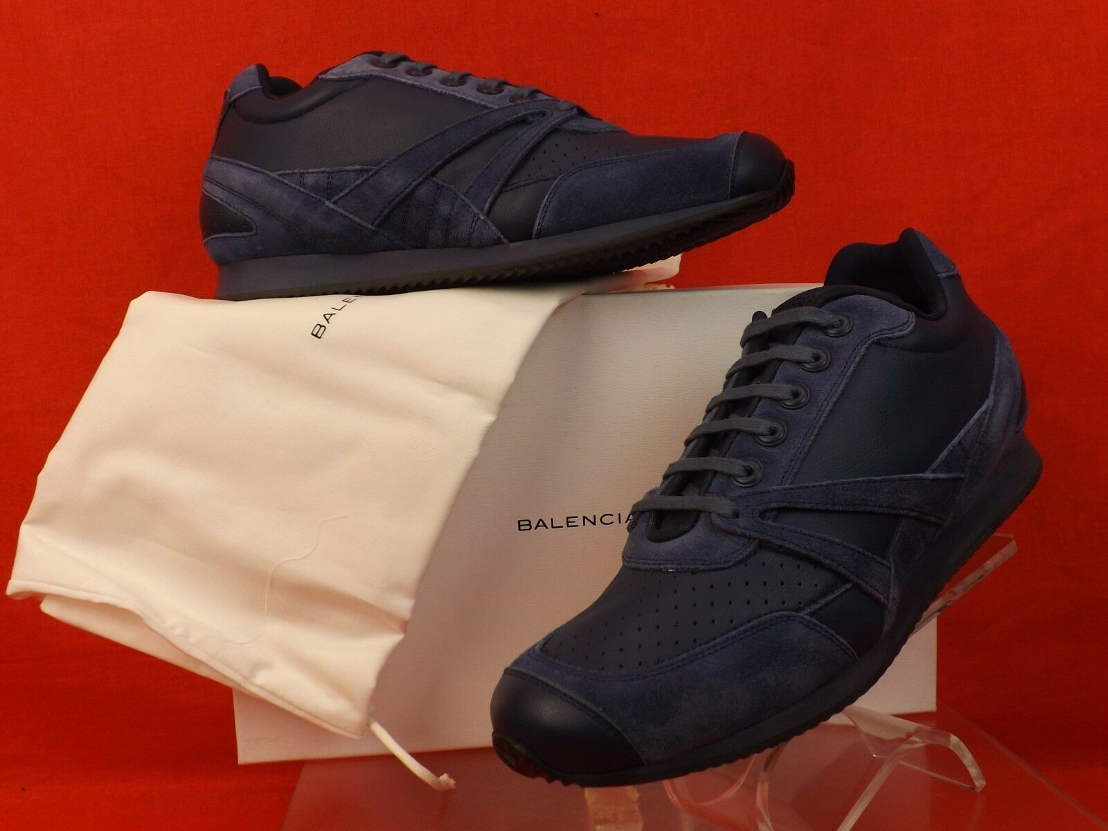 NIB BALENCIAGA NAVY PERFORATED LEATHER SUEDE LOGO SNEAKERS TRAINERS 40  495