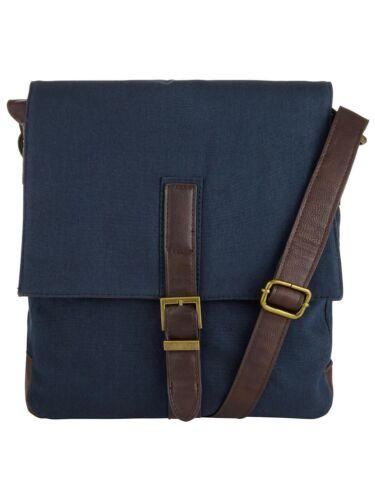 NEW John Lewis Canvas Flight Bag Navy Blue  Man Bag Shoulder Bag Leather Trim