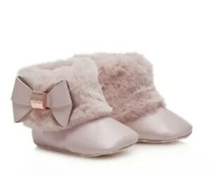 4011206aee0 Details about Ted Baker Girls Wow Bow Fur Trim Boots 0-3 Months Brand New