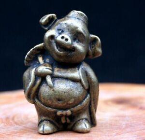 CHINESE BRASS VINTAGE HANDWORK HAMMERED PIG MONKEY STATUE SUPERB COLLECTIBLES