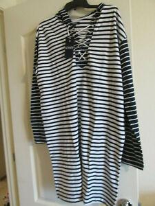 254a3eb7ec3 Chaps Sailor Bay Navy   White Striped sweatshirt Dress-100% Cotton ...