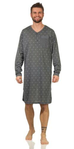 M L XL 2XL Herren Nachthemd langarm Sleepshirt Nachtwäsche Gr