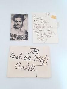 Arletty - lot de 2 autographes/ dédicace - carte personnelle - originaux