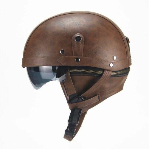 Motorcycle Motorbike Rider Half PU Leather Retro  Helmet Visor With Collar Open