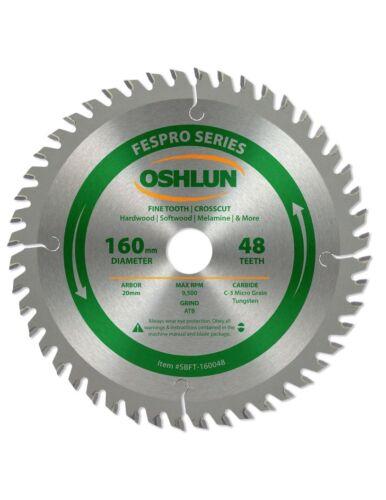 Oshlun SBFT-160048 160mm 48T Blade with 20mm Arbor for Festool TS 55 EQ /& DWS520